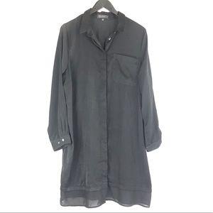 Eloquii Black Long Sleeve Shift Shirt Dress